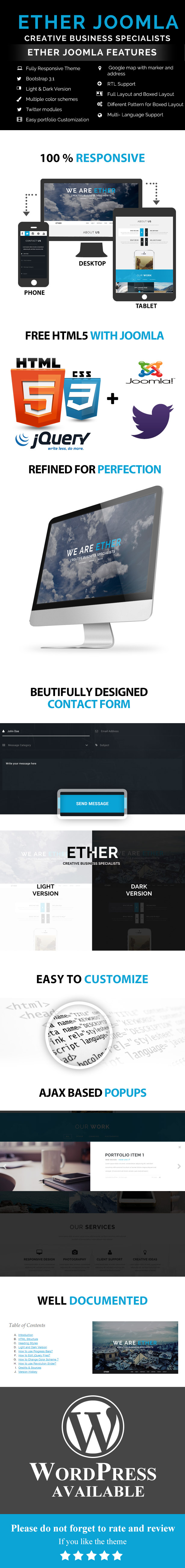 Ether - One Page Multipurpose Joomla Template